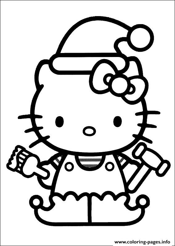 Hellokitty Christmas 01 Coloring Pages Printable