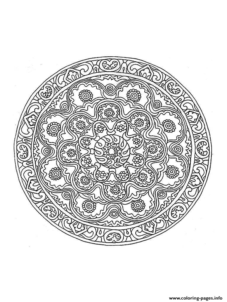 Mandala Difficult 1 Coloring Pages