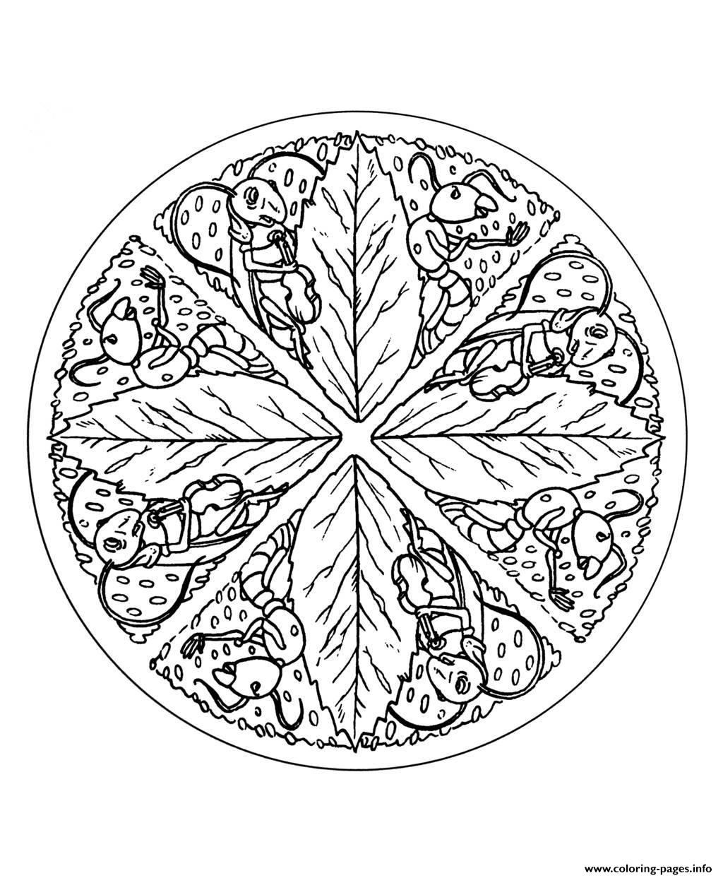 Free Mandala To Color Leaves  coloring pages