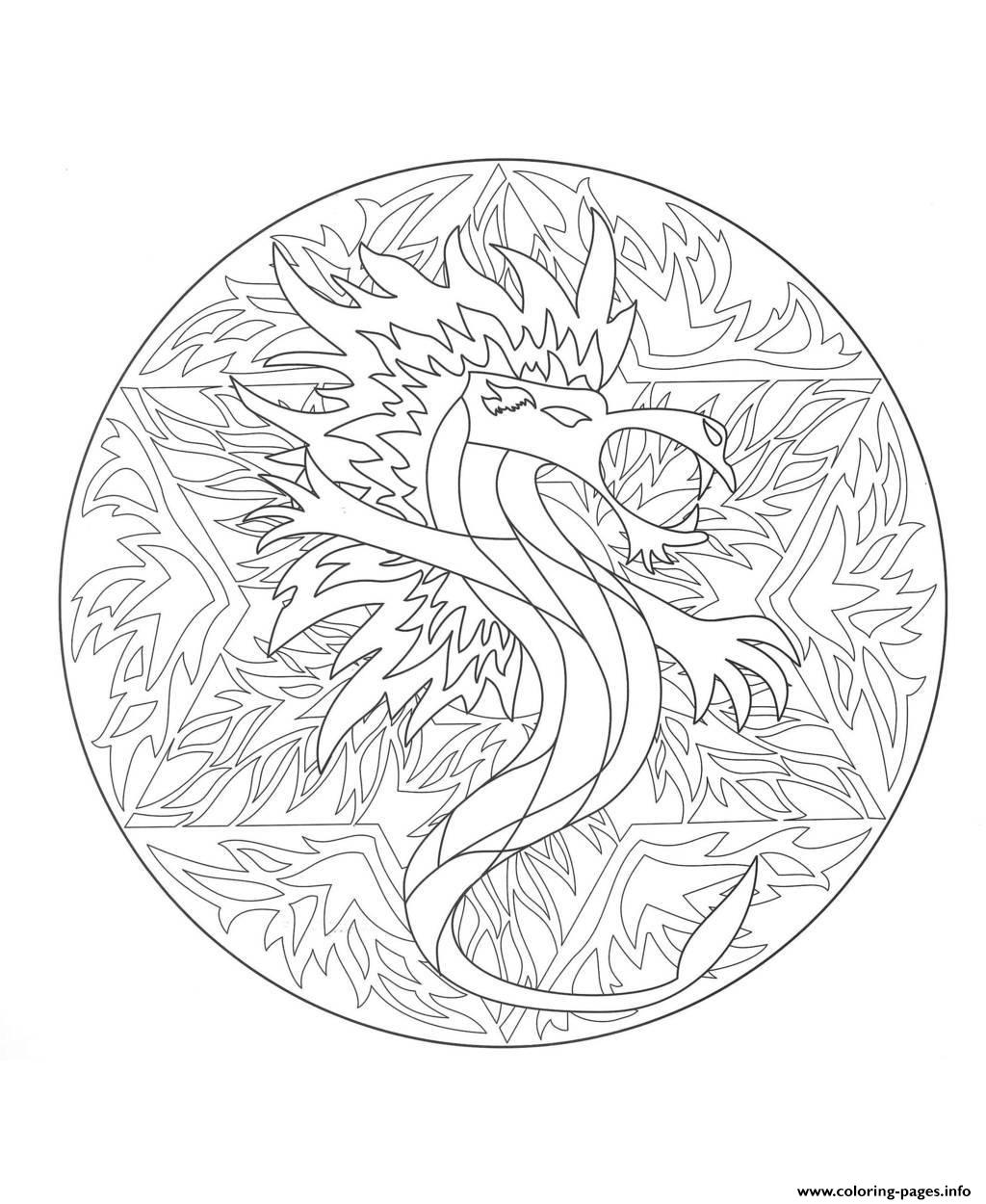 Mandala Dragon 5  coloring pages