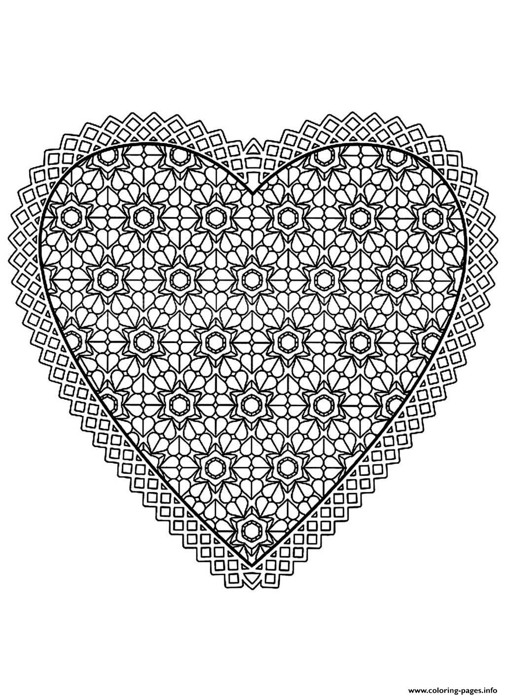 Free Mandala Difficult Adult To Print Heart Coloring Pages Printable