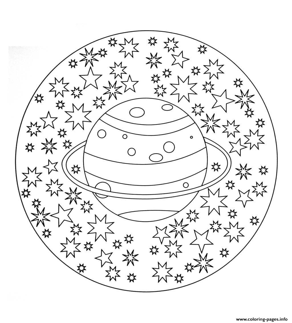 Free Mandala To Color Planet Stars  coloring pages