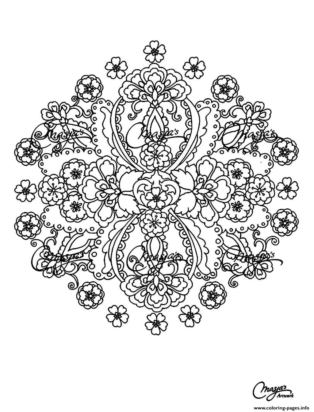 Adult Flowers Mandala Coloring Pages