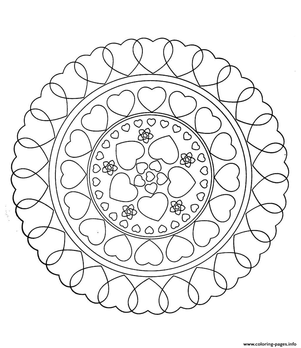 Free mandala to color hearts love coloring pages printable for Love mandala coloring pages