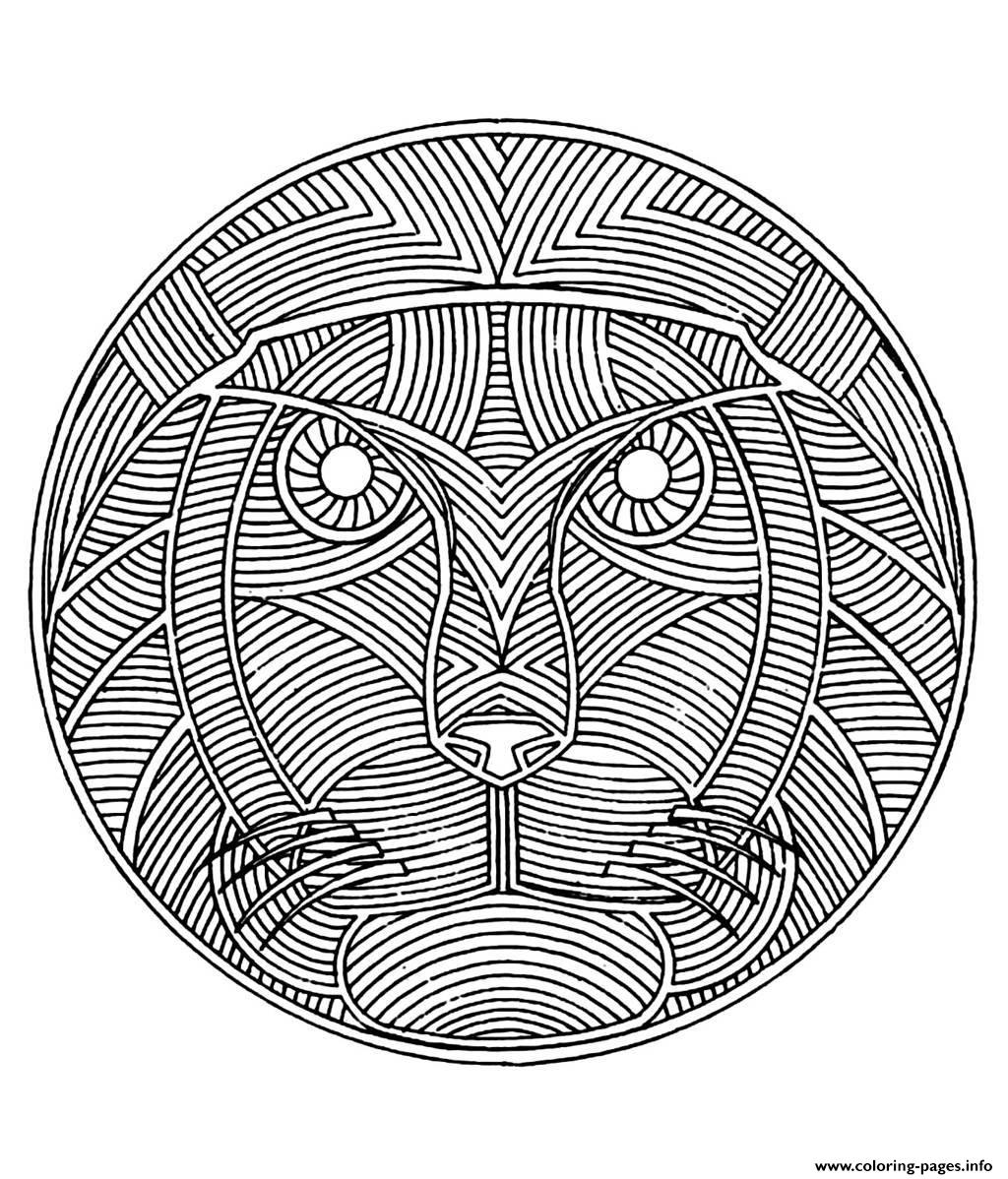 Free mandala difficult adult to print lion coloring pages for Lion mandala coloring pages