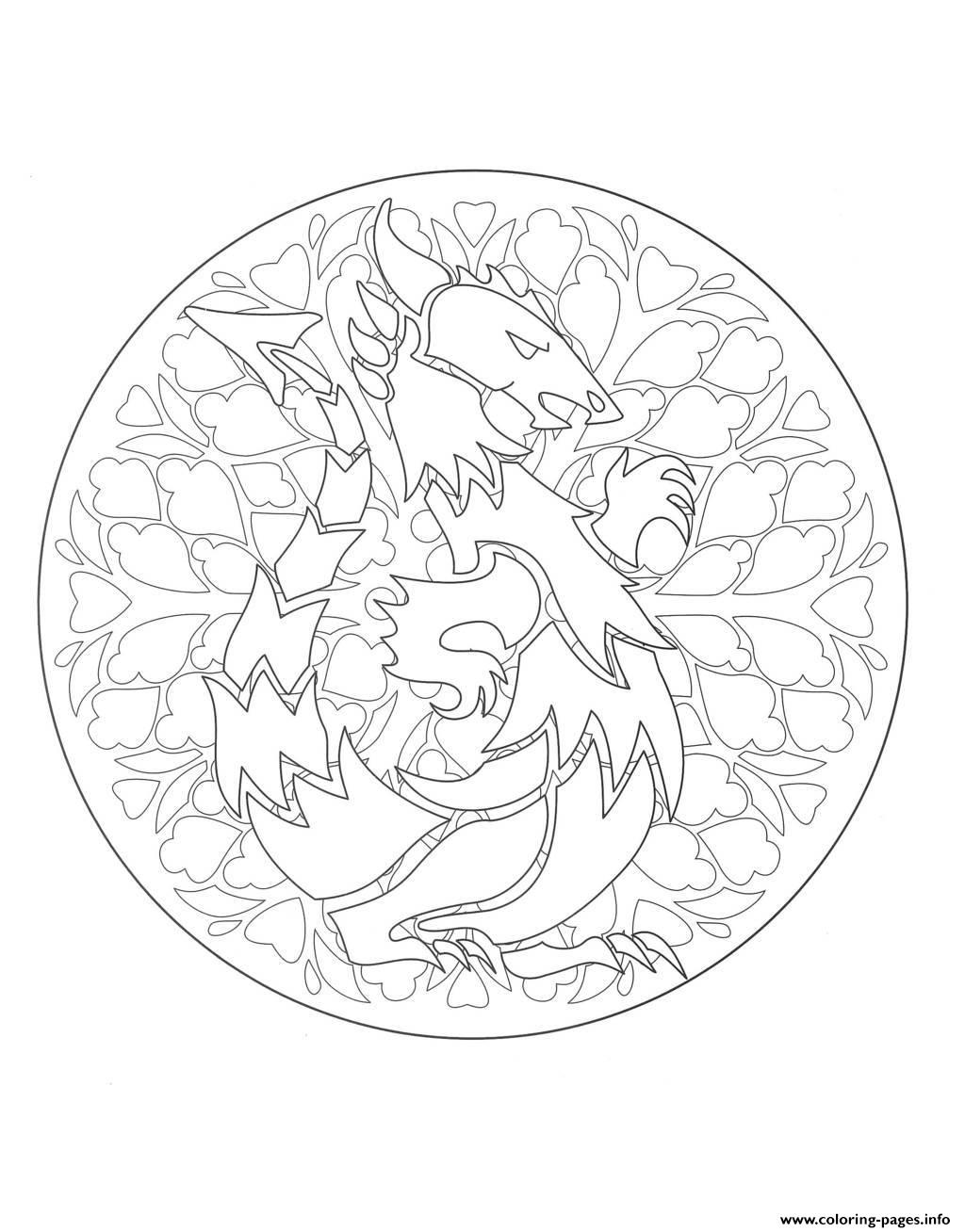 mandala dragon 1 coloring pages printable