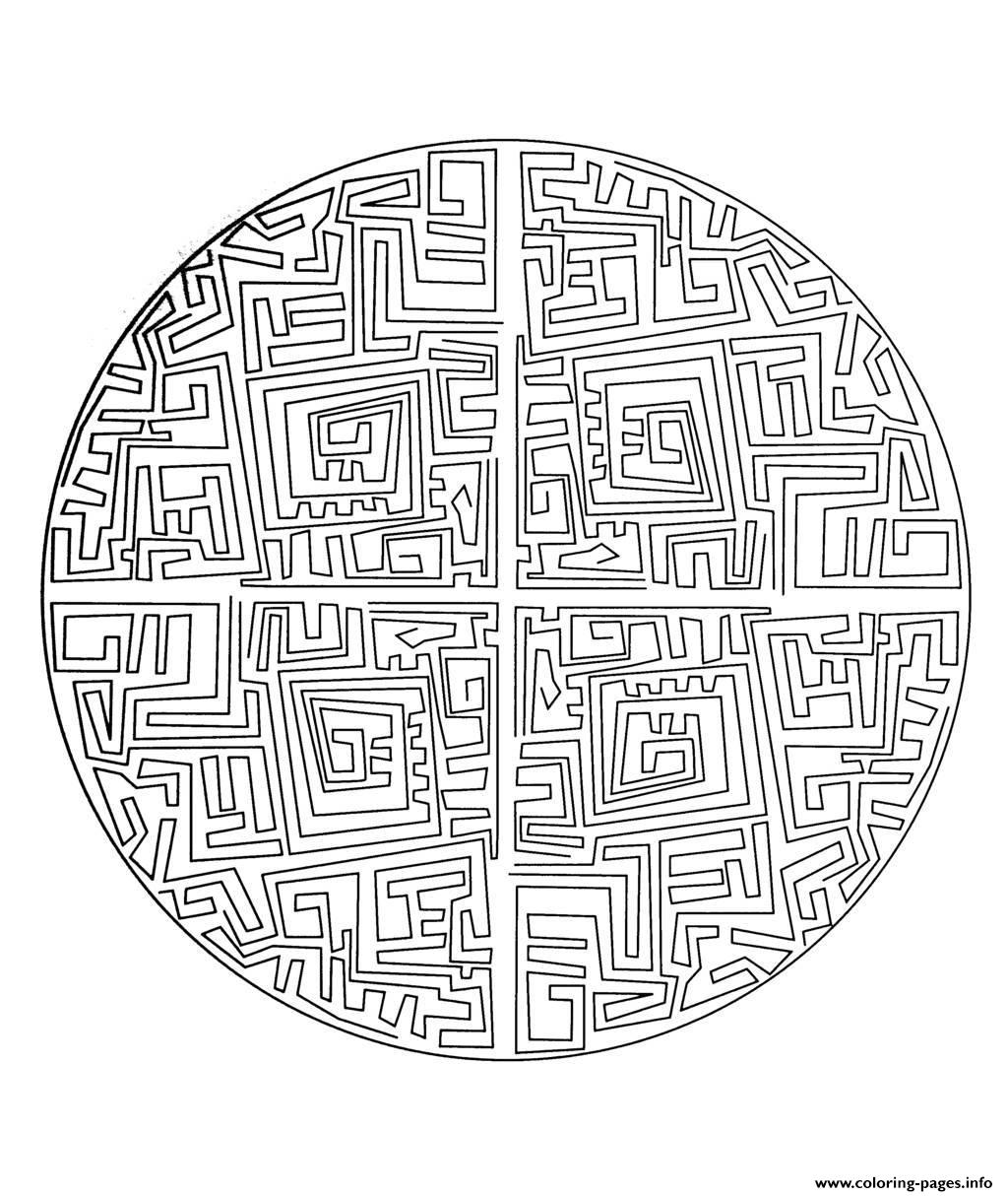 Free Mandala To Color Maze  coloring pages