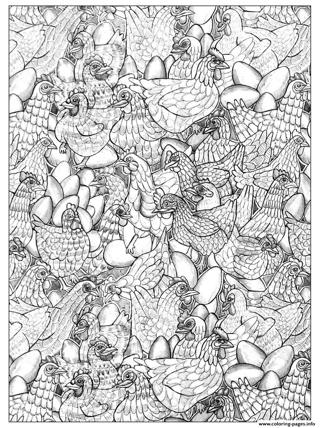Adult Chicken 1 Coloring Pages