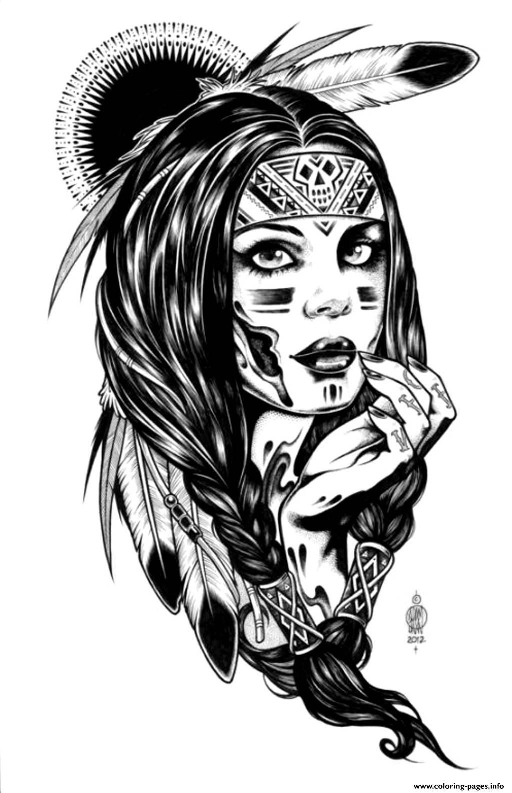 Adult Native Indian American Woman Coloring Pages Printable