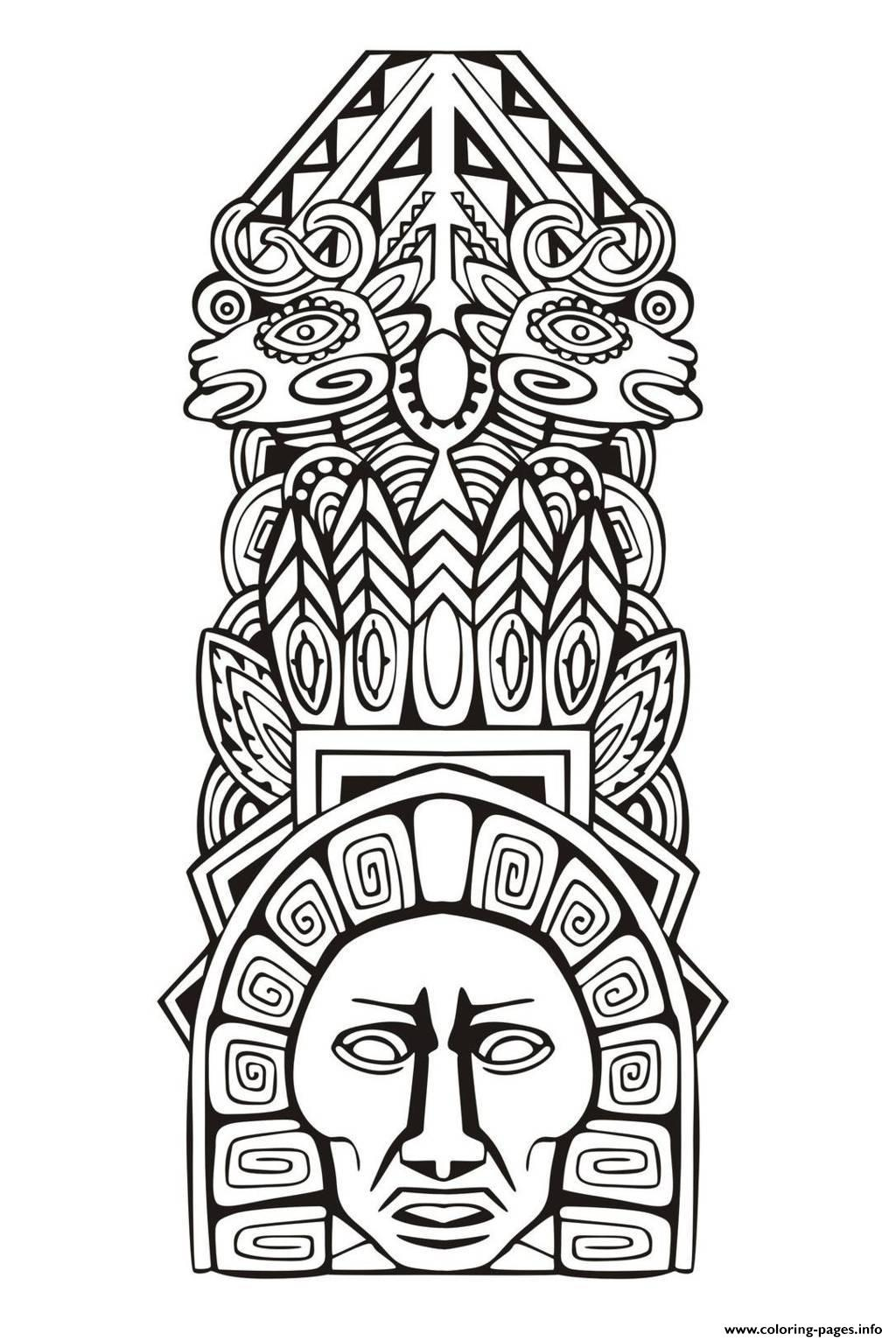 Adult Totem Inspiration Inca Mayan Aztec 5 Coloring Pages Printable