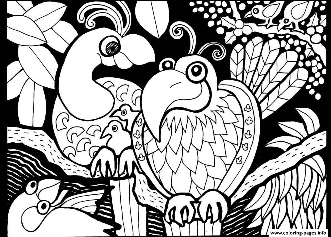 Adult africa parrots coloring pages