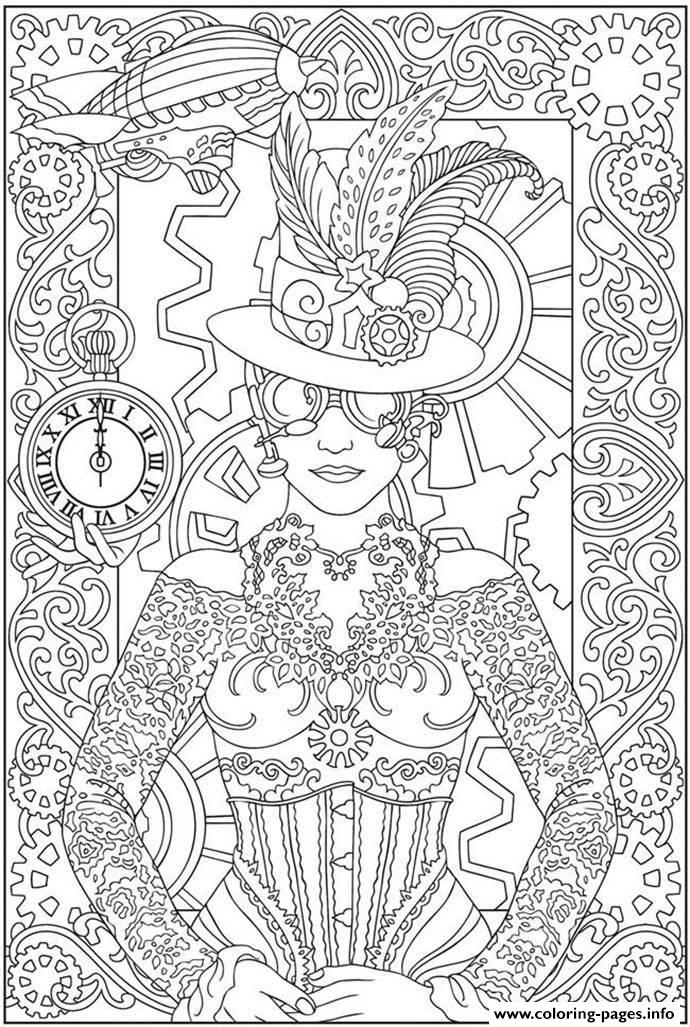 Adult Clock Woman Coloring Pages