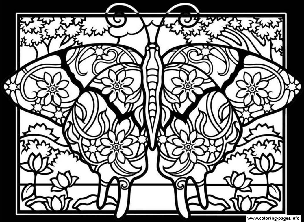Adult Difficult Butterflies Black Background Coloring Pages Printable