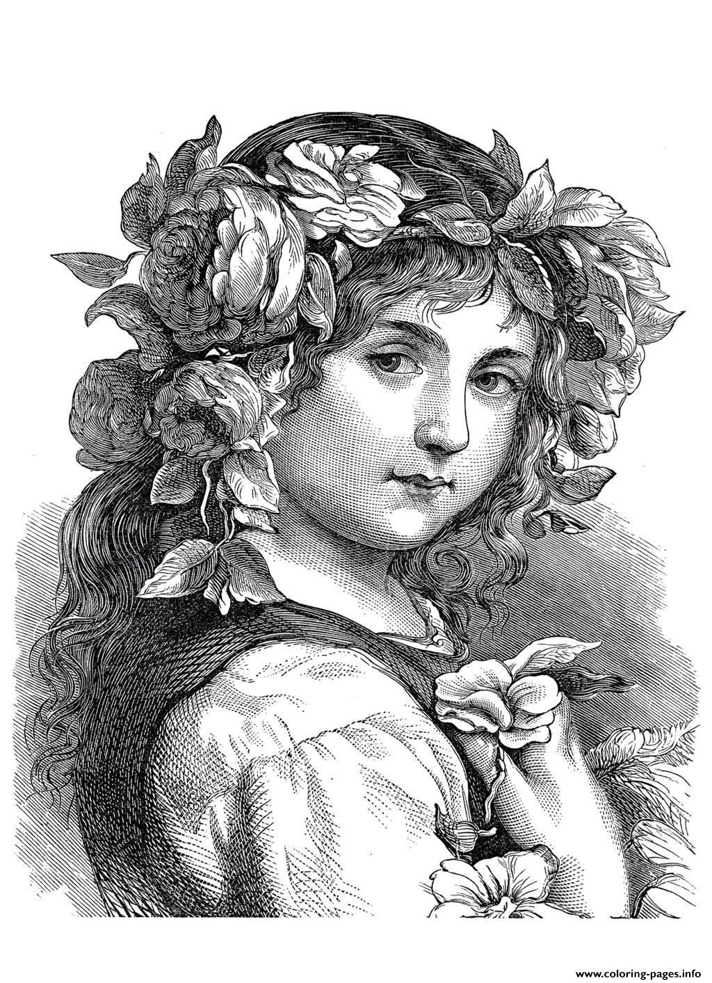 Adult Engraving Flower Girl 1868 Coloring Pages Printable