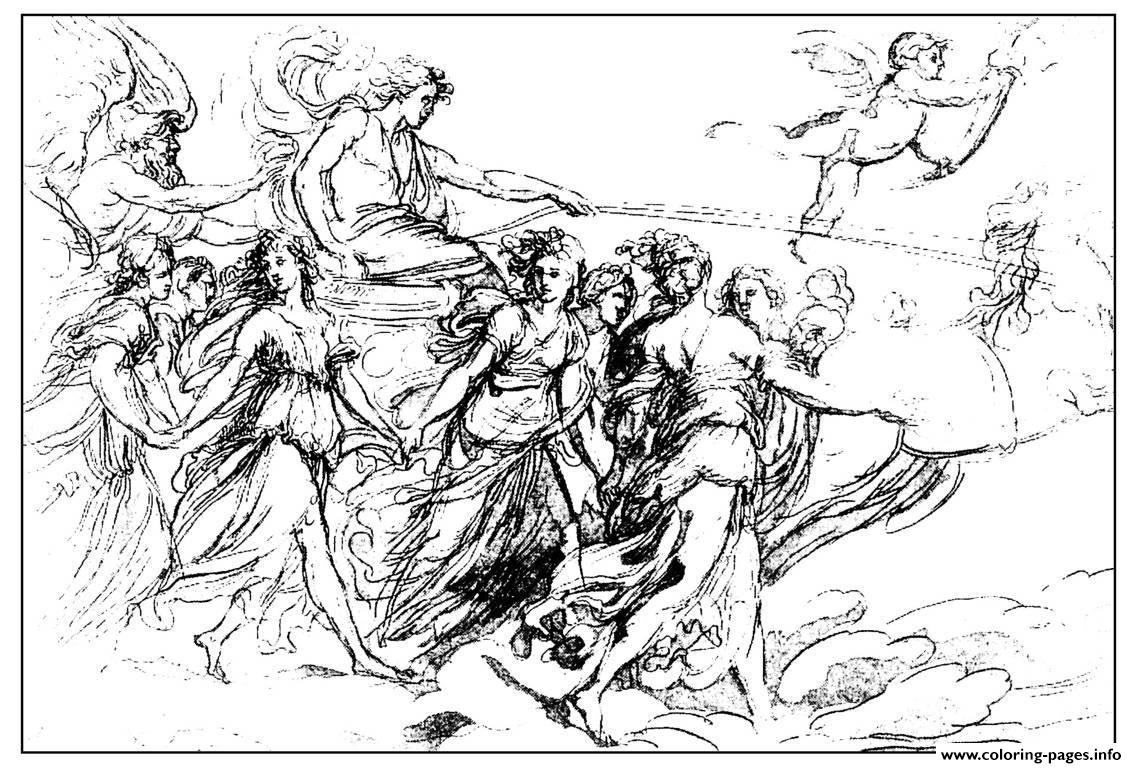 Adult Engraving Francesco Rosaspina The Chariot Of The Dawn 19th S coloring pages