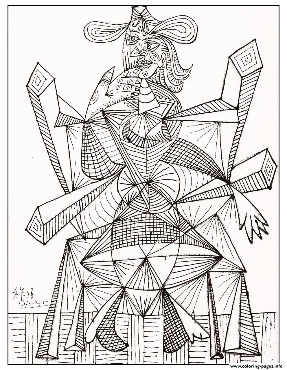Adult Drawing By Picasso 1938 coloring pages