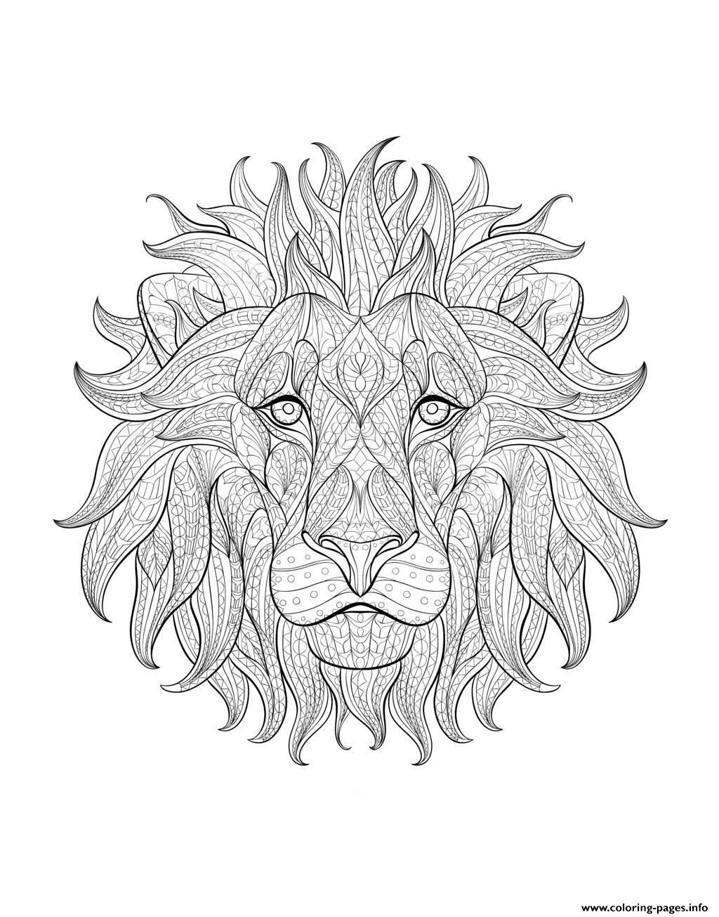 Adult Lion Head 3 coloring pages