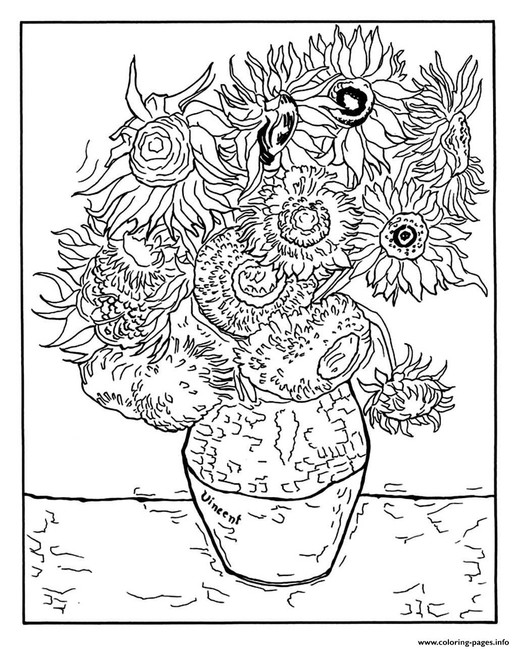 Adult Vincent Van Gogh 12 Tournesols Dans Un Vase coloring pages