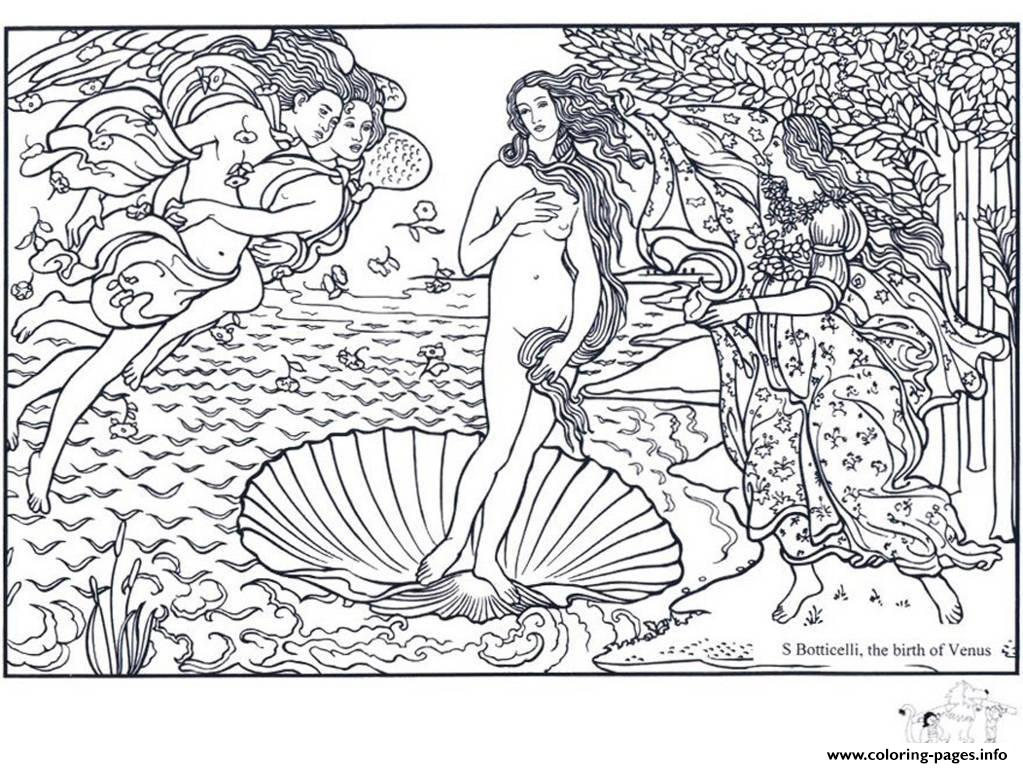 Adult Boticelli The Birth Of Venus coloring pages