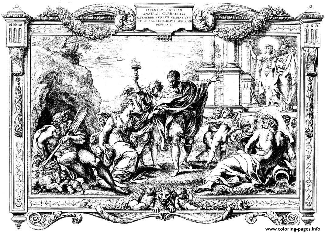 Adult Engraving Pietro Aquila Allegory With Annibal Carrache And Painting 1674 coloring pages