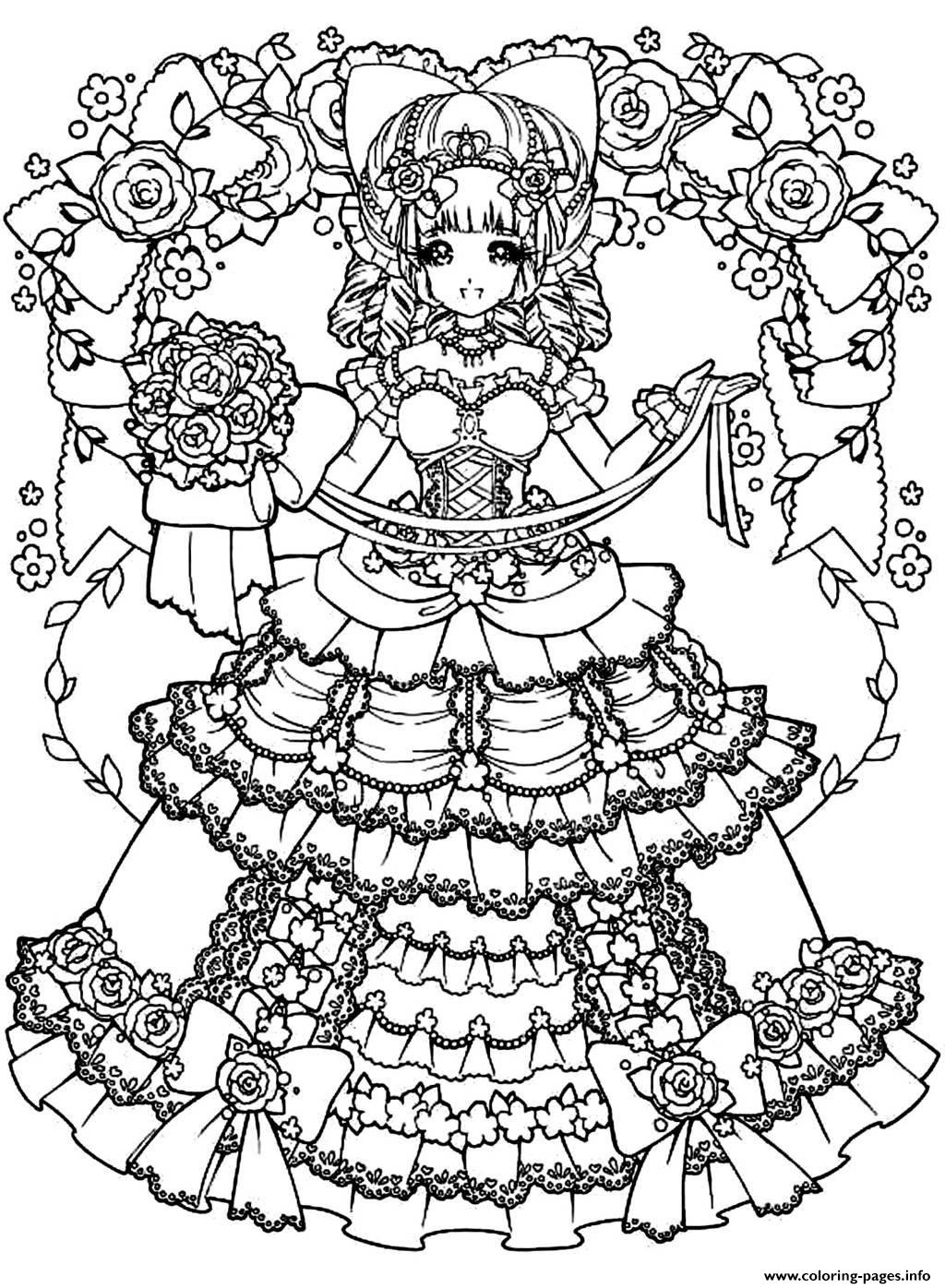 Adult Back To Childhood Manga Girl Dress coloring pages