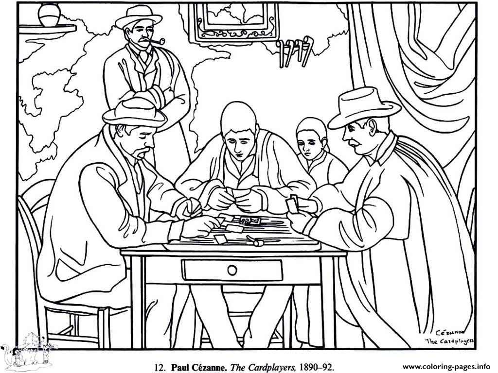 Adult Paul Cezanne Card Players coloring pages