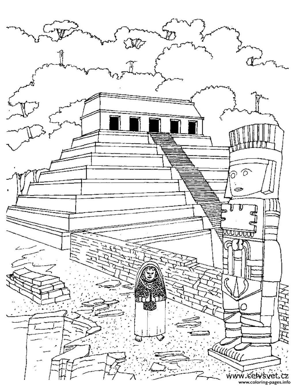 Adult Temple Aztec coloring pages