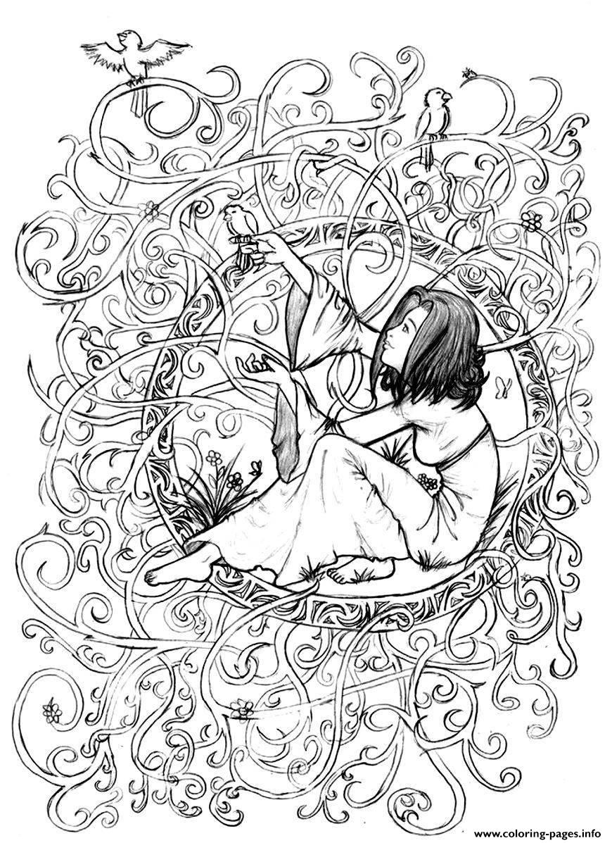 Adult Zen Anti Stress To Print Princess In Leaves And Branches Coloring Pages