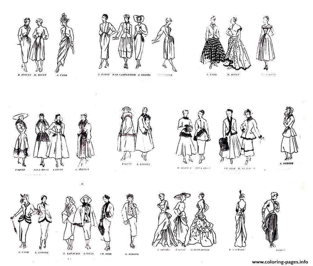 Adult Croquis Mode 1947 coloring pages