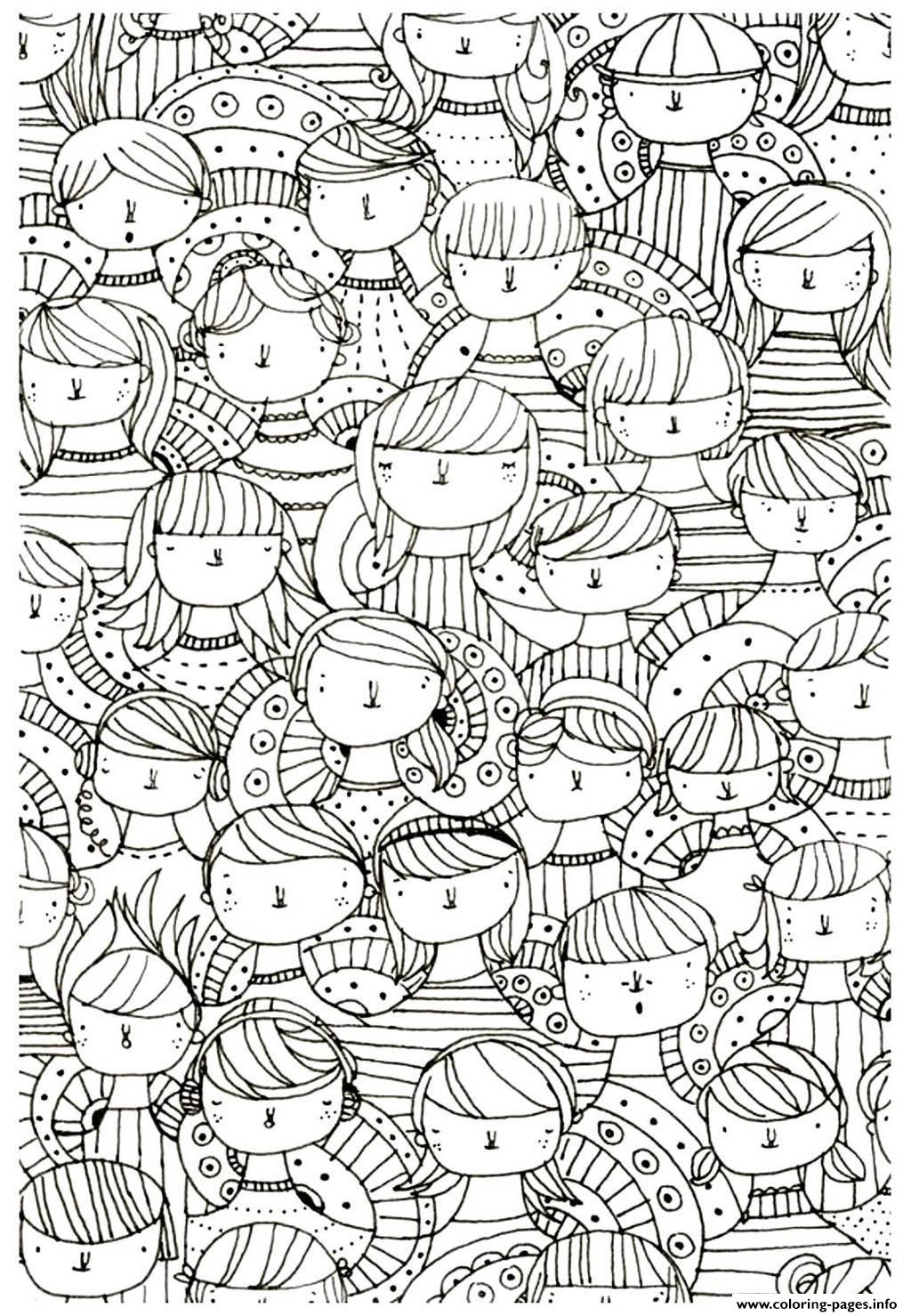 Adult Faces Zen Anti Stress To Print Coloring Pages