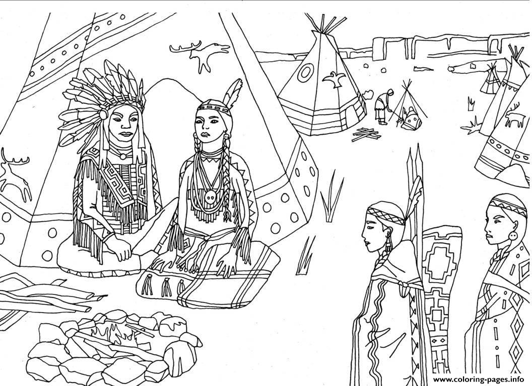 Adult Native Americans Indians Sat Front Of Tipi By Marion C coloring pages