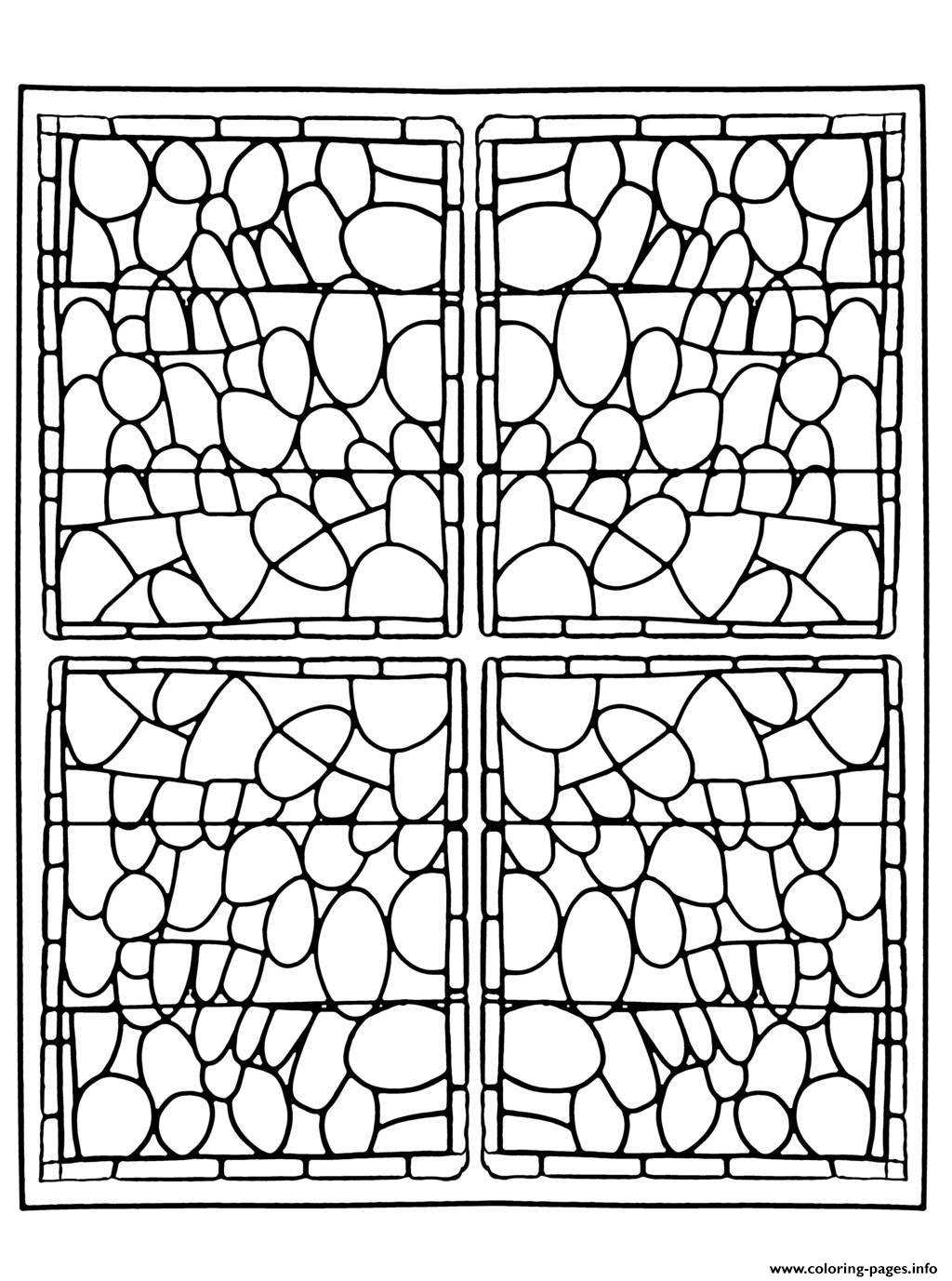 Adult Stained Glass Chapelle Prieure De Bethleem Nimes Version 3 coloring pages