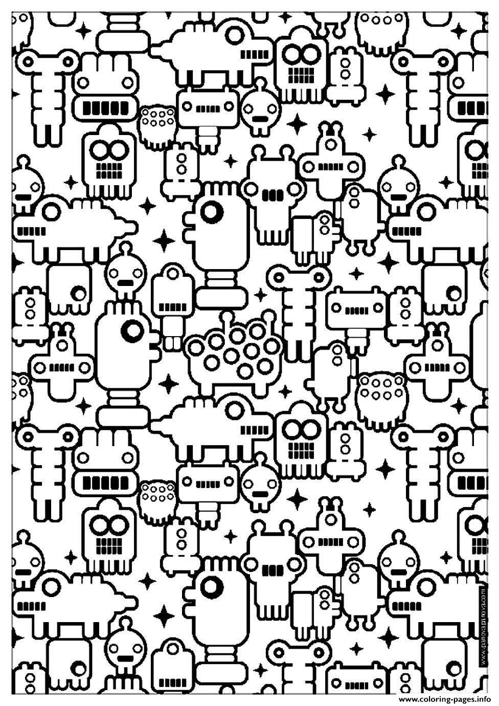 Adult Zen Anti Stress To Print Little Robots coloring pages