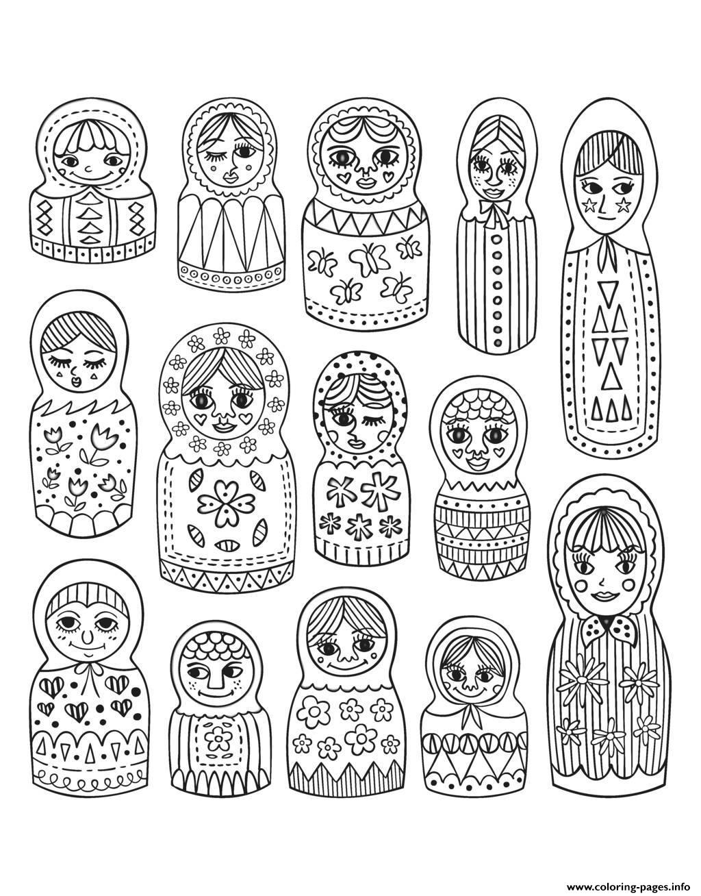 Adult Cute Russian Dolls coloring pages
