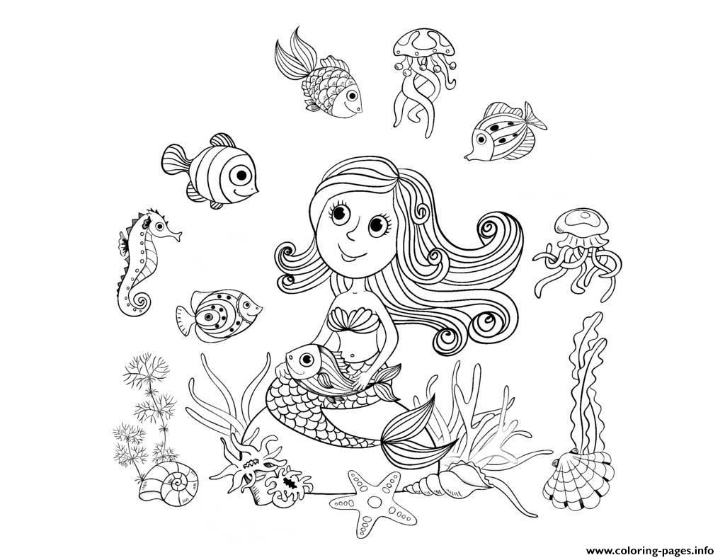 mermaid and fishes by amalga coloring pages printable