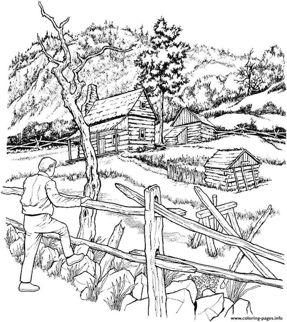 snowy cabins coloring pages printable