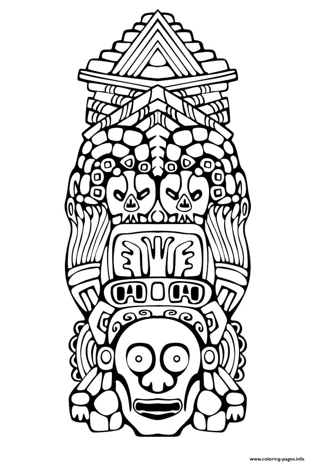 Adult Totem Inspiration Inca Mayan Aztec 3 Coloring Pages Printable