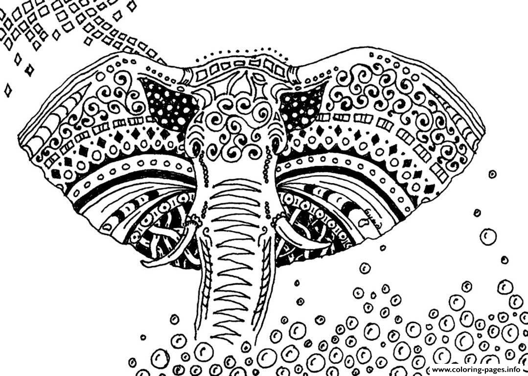 Elephant coloring pages free - Adult Africa Elephant Coloring Pages