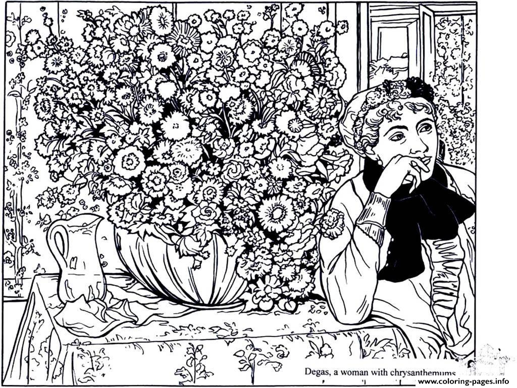 Adult Degas Woman With Chrysanthemums coloring pages