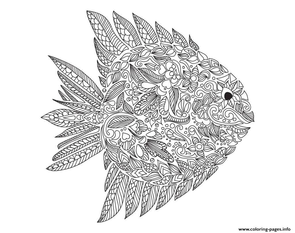 Adult zentangle fish by artnataliia coloring pages printable for Adult fish coloring pages