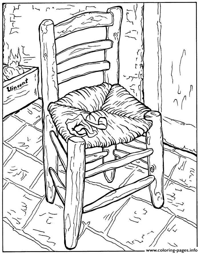 Adult Van Gogh La Chaise Et Pipe Coloring Pages