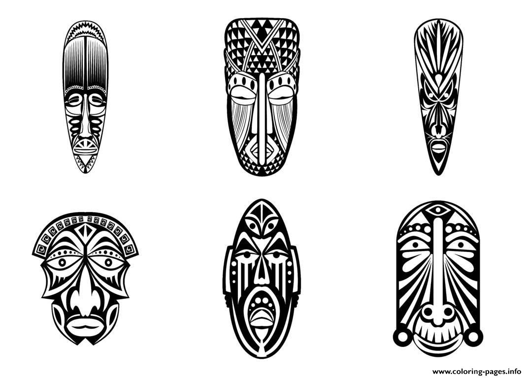 6 african masks simples coloring pages printable
