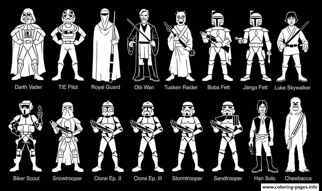 Adult Characters Star Wars Coloring Pages Printable