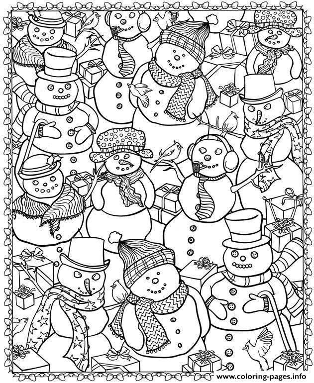 Adult Christmas Snowman Coloring Pages Printable