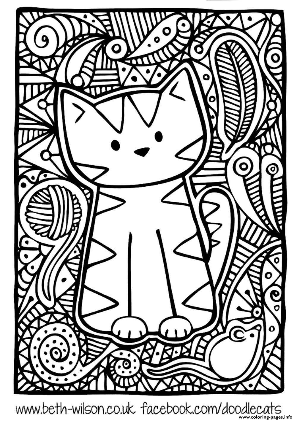 Adult difficult cute cat coloring pages printable for Hard printable coloring pages