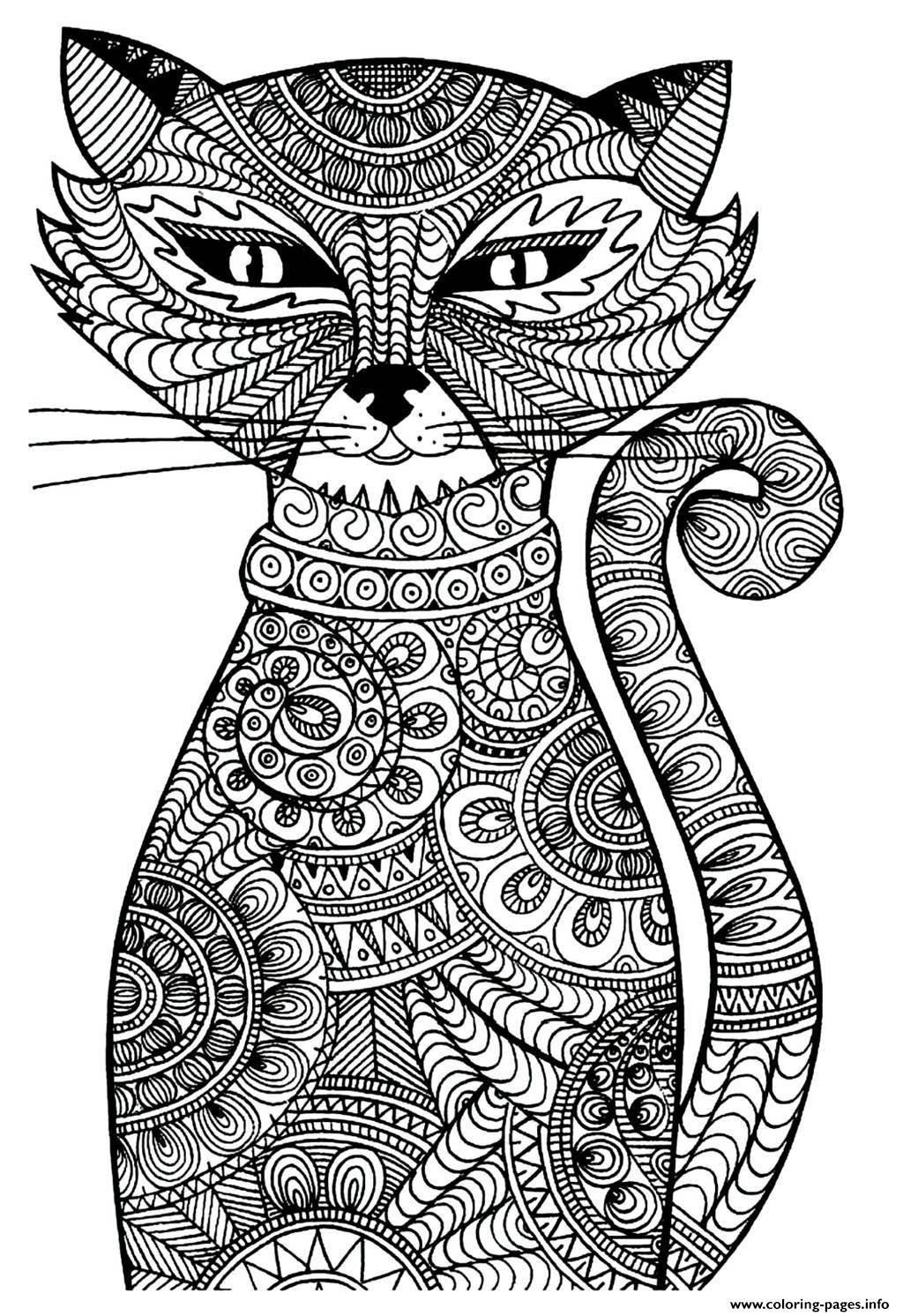 Adult cat coloring pages printable for Coloring pages to print for adults