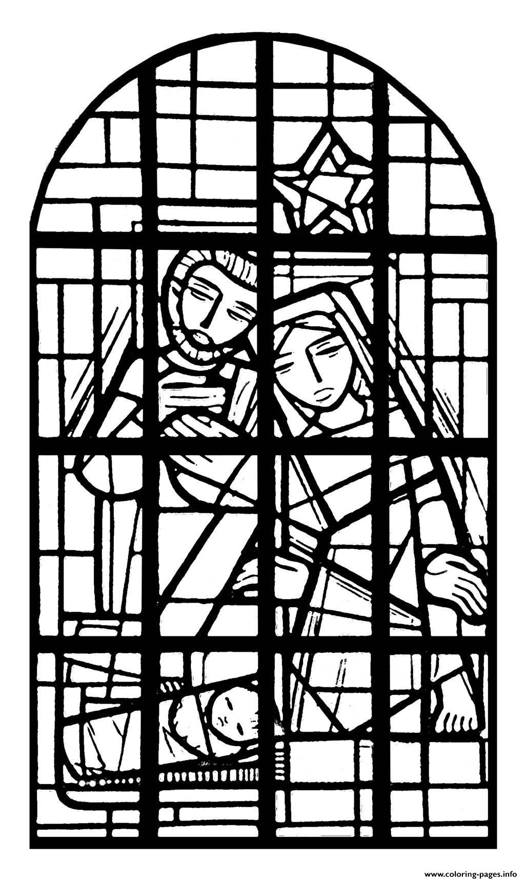 Adult Stained Glass Nave Church Immaculee Conception Mangombroux Verviers France coloring pages