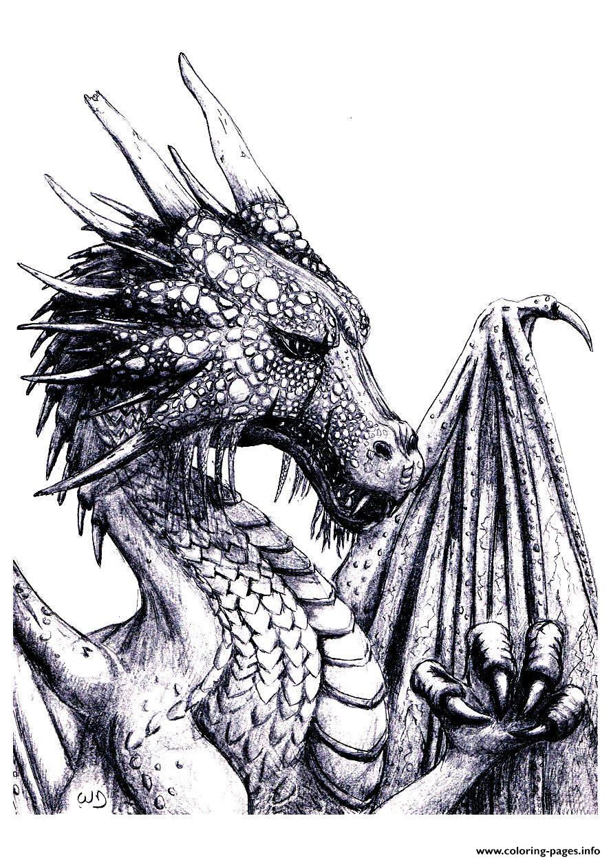 photograph about Printable Dragon Coloring Pages identified as Grownup Dragon Coloring Web pages Printable