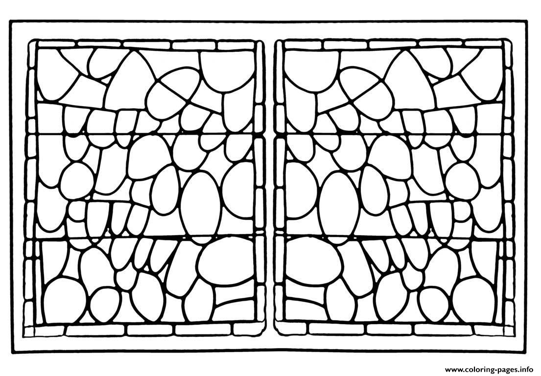 Adult Stained Glass Chapelle Prieure De Bethleem Nimes Version 2 coloring pages