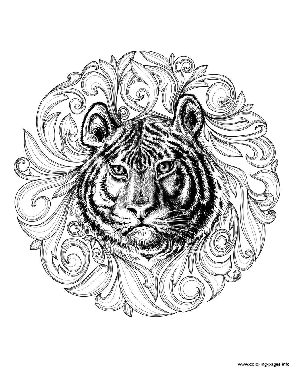 tiger leaves framework coloring pages printable